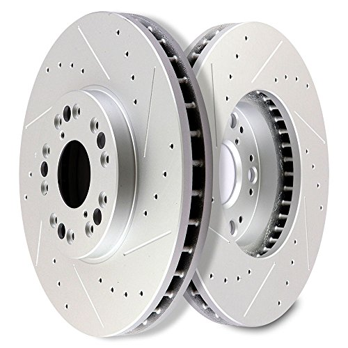 (SCITOO Brakes Rotors 2pcs Front Drilled Slotted Discs Brake Rotors Brakes Kit fit Lexus GS300/GS400/GS430/IS300/LS400,1999-2000 Lexus SC300,1992-2000 Lexus SC400,2002-2010 Lexus)