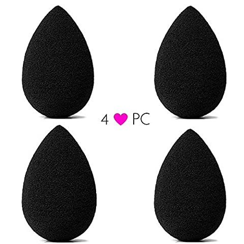 Pro Beauty Sponge Blender 4 pc Black Teardrop Makeup Sponges for Blending, Stippling, Highlighting and Contouring! Flawless Applicator for Liquid, Creams, and Powders, Latex Free