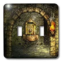 3dRose LLC lsp_11908_2 A Medieval Room Features An Enchanted Fountain As A Torch Burns Nearby Double Toggle Switch