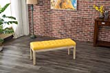 Roundhill Furniture CB171YL Mod Urban Style Solid Wood Button Tufted Fabric Dining Bench, Yellow
