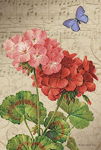 - Toland Home Garden Geranium Arrangement 28 x 40 Inch Decorative Spring Flower Butterfly Music House Flag