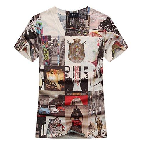 Cavlii Men's Fashion Mix Color V Neck 3D Printed Thin Summer T-Shirt L