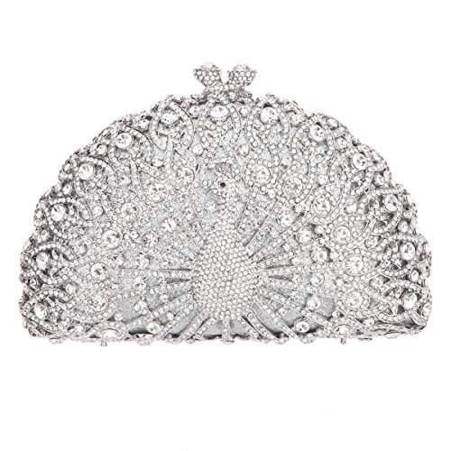 Fawziya Luxury Crystal Clutches For Women Peacock Clutch Evening Bag-Sliver