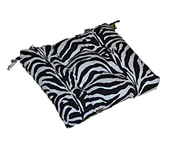 Indoor / Outdoor Black And White Zebra Print Universal Tufted Seat Cushion  With Ties For Dining