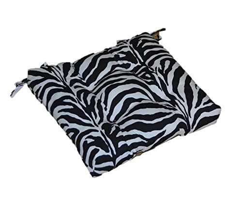 "Indoor / Outdoor Black and White Zebra Print Universal Tufted Seat Cushion with Ties for Dining Patio Chair - Choose Size (20"" x 17 1/2"") -  Resort Spa Home Decor"