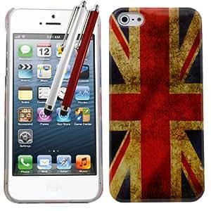 Samrick - Carcasa para Apple iPhone 5/5G (con tarjetero, incluye protector de pantalla, gamuza de microfibra y lápices capacitivos rojo y blanco), diseño de bandera de Reino Unido
