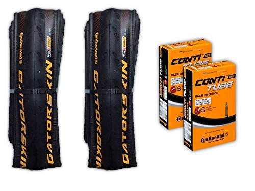 - Continental Gatorskin 700x23 Road Bicycle Tire Tube COMBO (2 Tires & 2 Continental 60mm Presta Valve Tubes)