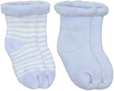 Stay-on Baby SocksBlue and White 0-3 Months