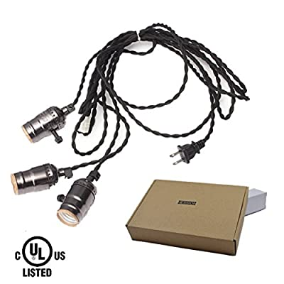 HESSION Vintage Triple Light Sockets Pendant Hanging Light Cord Plug-In Light Fixture with On/Off Switch E26/E27 Base, 16.5FT Twisted Black Textile Cord UL Listed(Black)