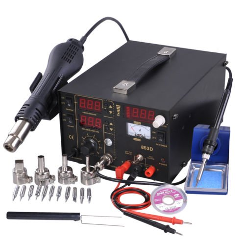 Zeny® 3in1 SMD DC Power Supply Hot Air Iron Gun Rework Soldering Station Welder 853D