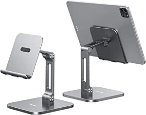 Yoobao Tablet Stand Multi-Angle Tablet Holder Desktop iPad Stand Adjustable & Foldable Aluminum Cell Phone Stand for 4-13'' iPad Pro Air Mini Kindle iPhone 11 Pro XR Xs Max & More-Gray