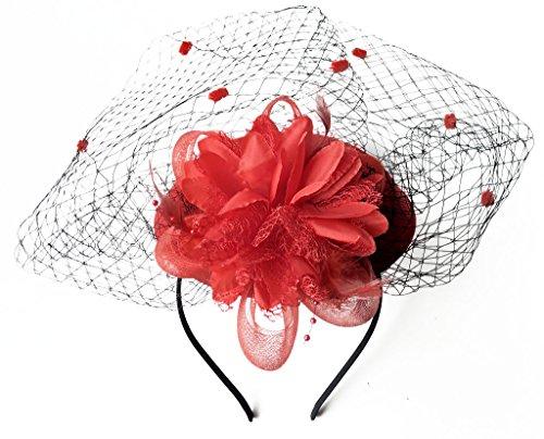 Fascinator Hats Pillbox Hat British Bowler Hat Flower Veil Wedding Hat Tea Party Hat (Red)