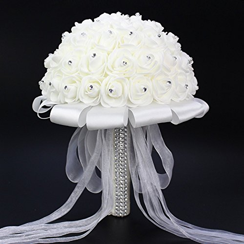 (FIDDY898 Romantic Wedding Bride Holding Bouquet Roses with Crystal Diamond Ribbon Artificial Foam Flower Bouquet (White))