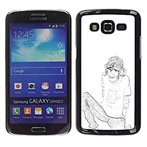 Be Good Phone Accessory // Dura Cáscara cubierta Protectora Caso Carcasa Funda de Protección para Samsung Galaxy Grand 2 SM-G7102 SM-G7105 // Boy Guy Man Pencil Chilling Drawing Art