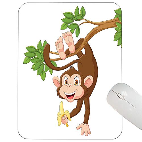 Cartoon Customized Mouse pad Funny Monkey Hanging from Tree with Banana Jungle Animals Theme Mascot Print Mouse pad Chocolate White 9