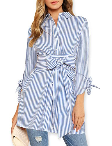 AOOKSMERY Women Casual Long Sleeve Stripes Button Down Shirts Mini Dress Shirt with ()