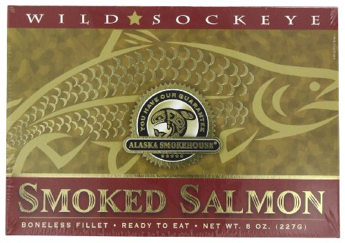(Alaska Smokehouse Smoked Sockeye Salmon Fillet In Gold, 8 Ounce Gift Box)