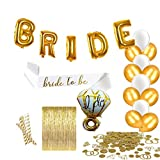 Bachelorette Party Decorations & Bridal Shower Kit Includes: Diamond Ring & BRIDE Foil Balloons, Bride to Be Sash, Gold & White Latex Balloons, Gold Fringe Curtain, Ring Confetti, Gold/White Straws