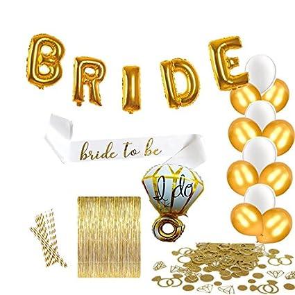 bachelorette party decorations bridal shower kit includes diamond ring bride foil balloons