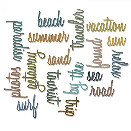 Sizzix 661288 Thinlits Die Set, Vacation Words, Script by Tim Holtz (18/Pack) - Hawaii Scrapbook Die Cut