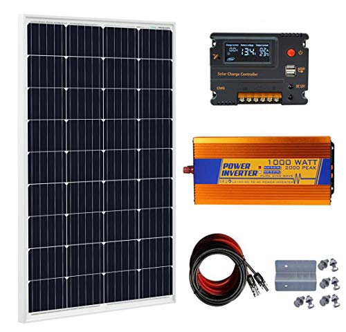 ECO-WORTHY 120 Watt Solar Panel kit 12V 120W Solar Panels Kit 20A Charge Controller 1000W Power Inverter for Off-Grid 12 Volt Battery System