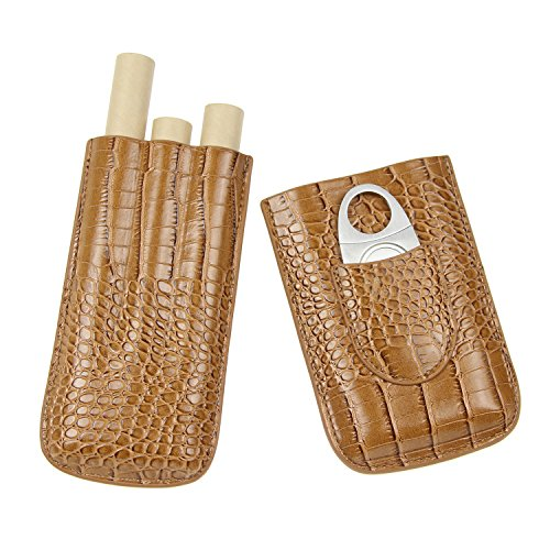 Cigar Case Travel 3 Holders Humidor - Crocodile Leather Case with Silver Stainless Steel Cutter Cigar - Humidor Set