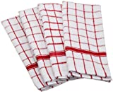 DII Cotton Terry Windowpane Dish Towels, 16 x 26 Set of 4, Machine Washable and Ultra Absorbent Kitchen Bar Towels-Red