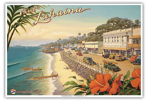 (Visit Lahaina - Maui, Hawaii - Inter-Island Steam Navigation Company - Front Street - Vintage Style Hawaiian Travel Poster by Kerne Erickson - Master Art Print - 13 x 19in)