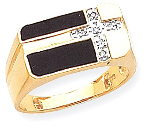 Gold Mens Onyx Cross Ring - 1