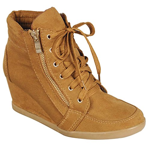SNJ Women High Top Wedge Heel Sneakers Platform Lace Up Shoes Ankle Bootie Trends Tan-1