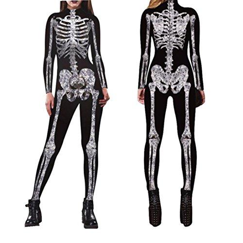 Halloween Jumpsuit ,Men Womens Skeleton Bones Halloween Cosplay Bodycon Party Fancy Play Clothing (S, Black) by Fheaven