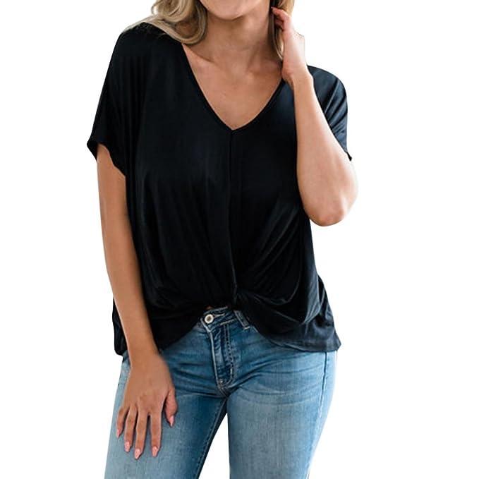 Koly Camisetas Mujer de Manga Corto V Cuello Tops Transparentes Elegante Blusas Suelto Casual Primavera Otoño