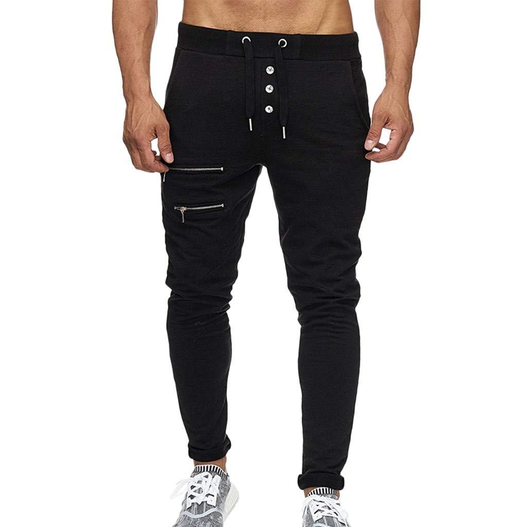 Men's Drawstring Pants Casual Classic Workout Training Walk Fitness Sport Long Pants (XL, Black)