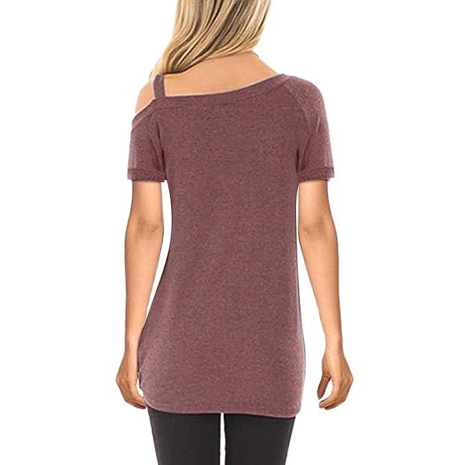 b335fbec90d9 Amazon.com: Fainosmny Womens Tops Loose Shirts Sexy Off Shoulder Blouse  Solid Tunic Tees Fashion Short Sleeve T-Shirt Sweatshirt: Clothing