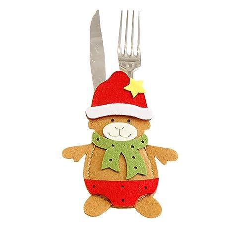 Decoracion Navidad Accesorio Muñeco de Nieve Adornos Navideños, Cubiertos Tenedores Bolsa decoración de Mesa,