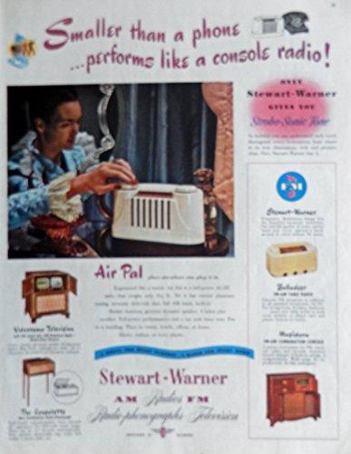 Stewart-Warner Radios. 40's Print ad. Color Illustration. Scarce old ad. (air pal) Original 1947 Collier's Magazine Art (Warner Stewart Radio)