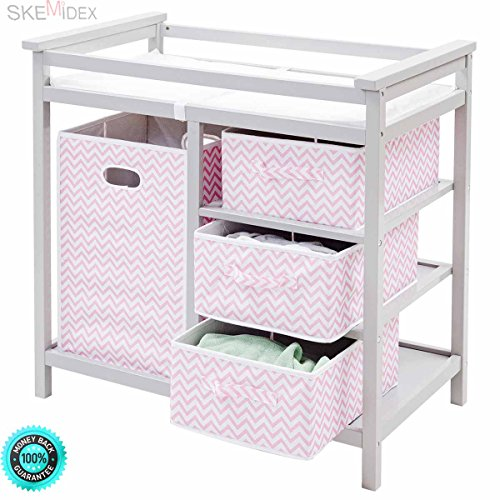 SKEMiDEX--- Gray Pink Infant Baby Changing Table w/3 Basket Hamper Diaper Storage Nursery This Baby Changing Table keeps everything tidy and concealed for a clean look in the nursery by SKEMiDEX