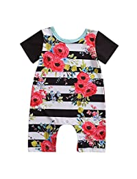 Toddler Unisex Baby Boy Girl Clothes Short Sleeve Striped Floral Romper Jumpsuit