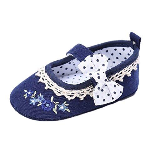 Auxma Zapatos de lona de la niña,Bowknot calza zapatillas antideslizantes suela suave zapatos para niños pequeños Azul