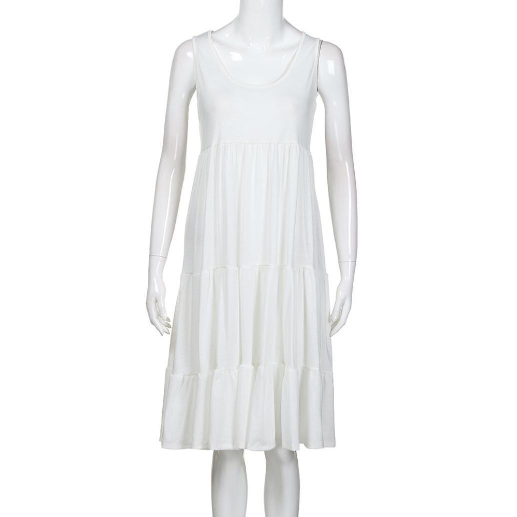 Vestidos Mujer Verano 2018,Mujer vacaciones verano sólido sin mangas fiesta playa vestido LMMVP (Blanco, XXL): Amazon.es: Hogar