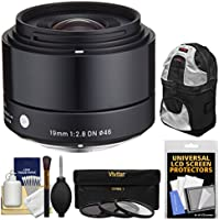 Sigma 19mm f/2.8 EX DN Art Lens with 3 UV/CPL/ND8 Filters + Sling Backpack + Kit for Sony Alpha E-Mount Digital Cameras
