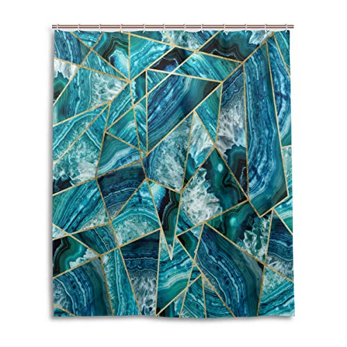 Turquoise Navy Blue Agate Black Gold Geometric Triangles Shower Curtain 60x72 Inch with 12 Hooks ()