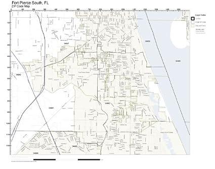 Map Of Fort Pierce Florida.Amazon Com Zip Code Wall Map Of Fort Pierce South Fl Zip Code Map
