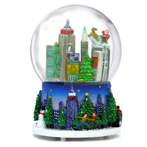 5.25 Inch MUSICAL New York City Christmas Snow Globe and Rockefeller Center Skyline NYC Snow Globes by City-Souvenirs (Image #2)
