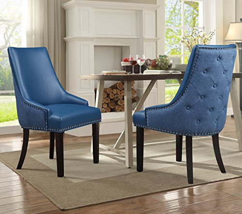 Iconic Home Brando Dining Side Accent Chair Pebble Grain PU Leather Linen Upholstered Nailhead Trim Tapered Solid Birch Legs, Modern Transitional, Navy, Set of 2