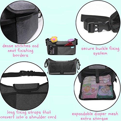 Best universal stroller organizer grey diaper bag + cup holder for cool parents