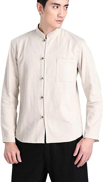 Hombres Chino Tang Traje Camisa de Manga Larga de Tai Chi Kung Fu Tops: Amazon.es: Ropa y accesorios