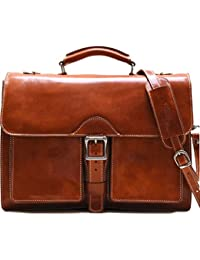 Novella Roller Buckle Briefcase Messenger Bag in Full Grain Leather (Olive (Honey) Brown)