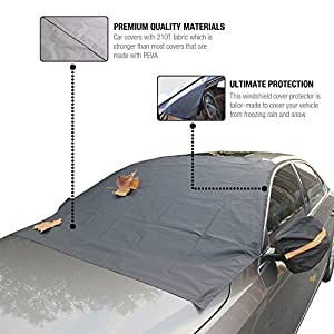Beru Automotive Windshield Cover - Full Black Car Cover with 6 Magnetic Edges and Side Mirror Covers - Secure and Easy to Install - Protects Car from Snow, Ice, Frost, and Rain