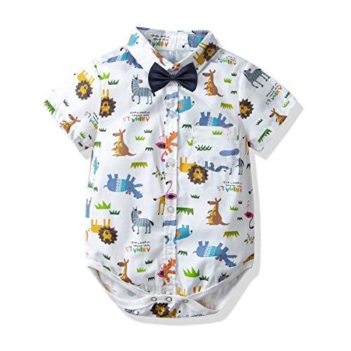 Newborn Baby Boys Romper Clothes Animals Print Short Sleeve Onesie Bodysuit Jumpsuit (Animal, 18-24 M/95)